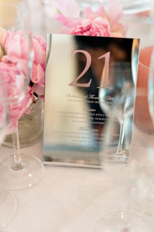 Números de mesa en color rosa