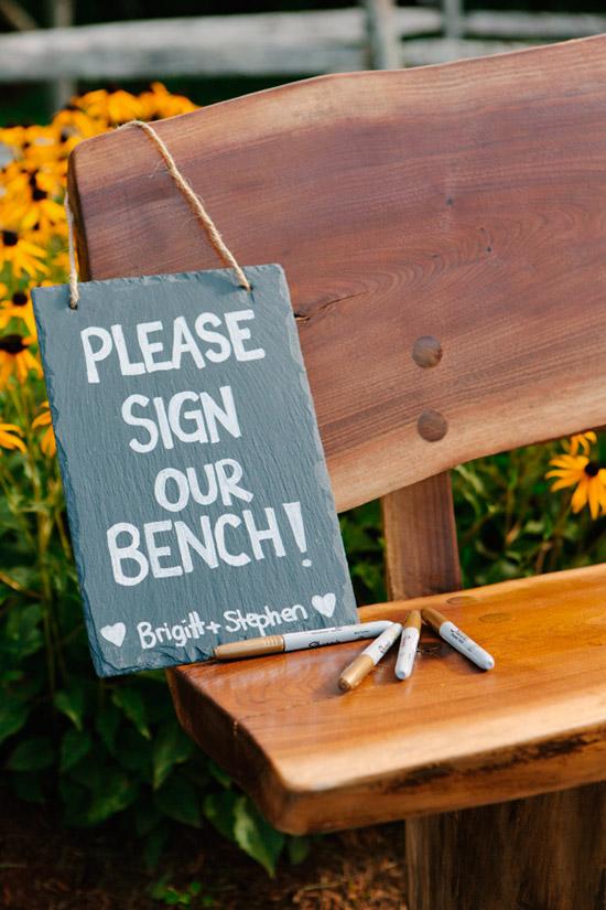 Banca firmada por los invitados - Alternativas creativas al libro de firmas