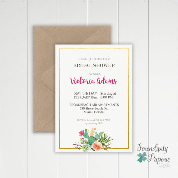 Bridal Shower Cactus invitation