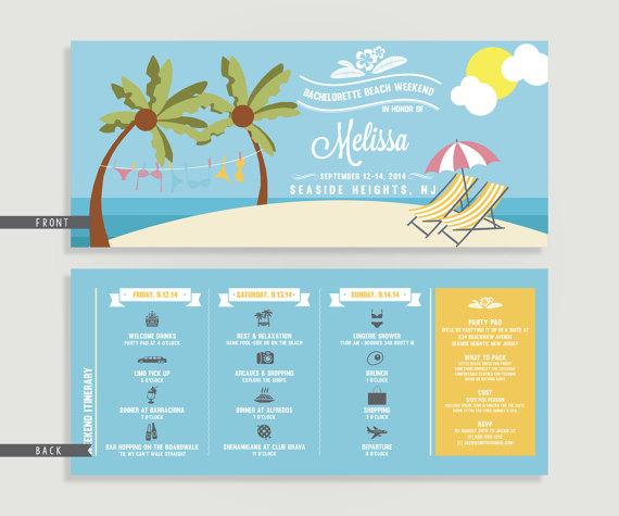 Invitacion despedida en la playa con itinerario