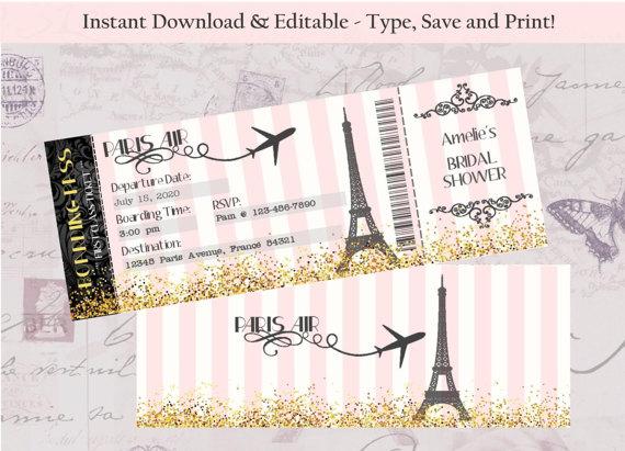 Invitacion para despedida de la novia viaje paris