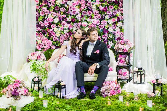 Fondo de flores naturales para fotos en la boda
