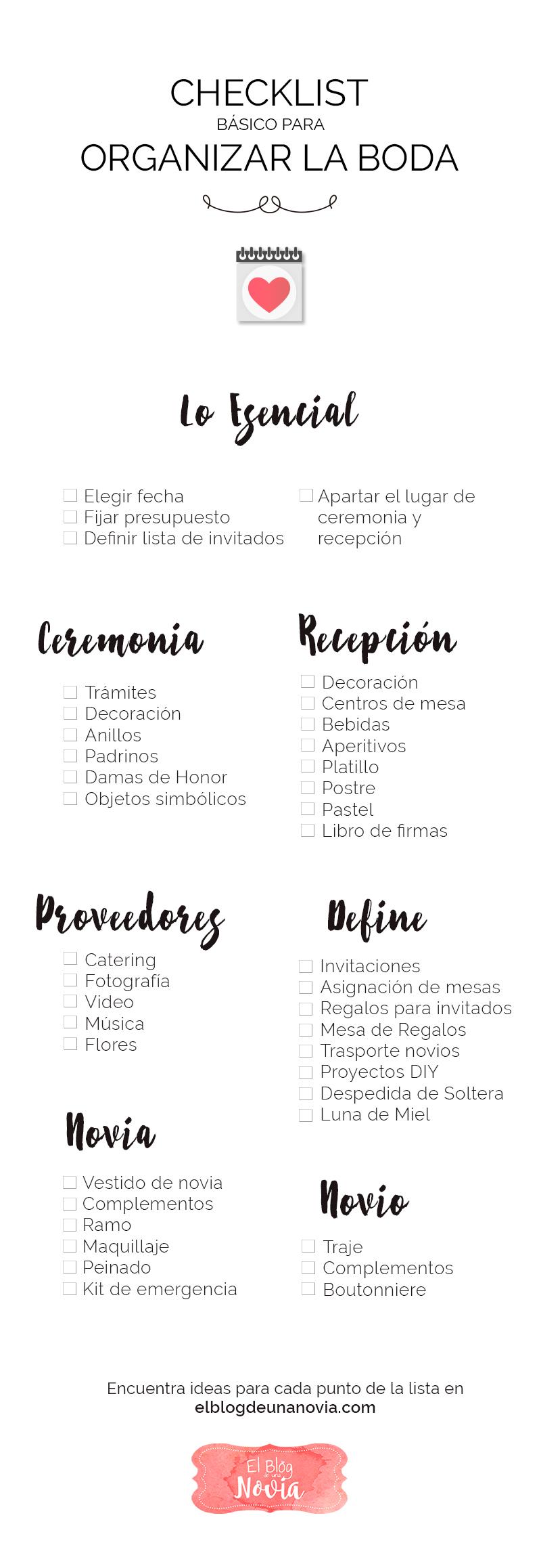 Checklist para Organizar la Boda