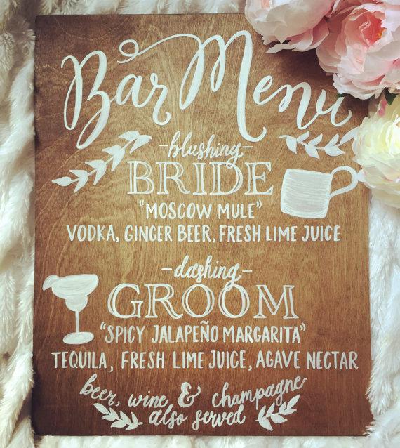 Letrero de madera - Menú de las bebidas de la boda