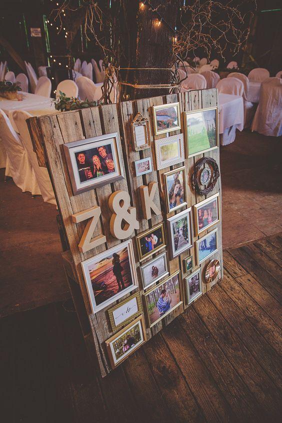 Pallet con fotos para decorar la boda