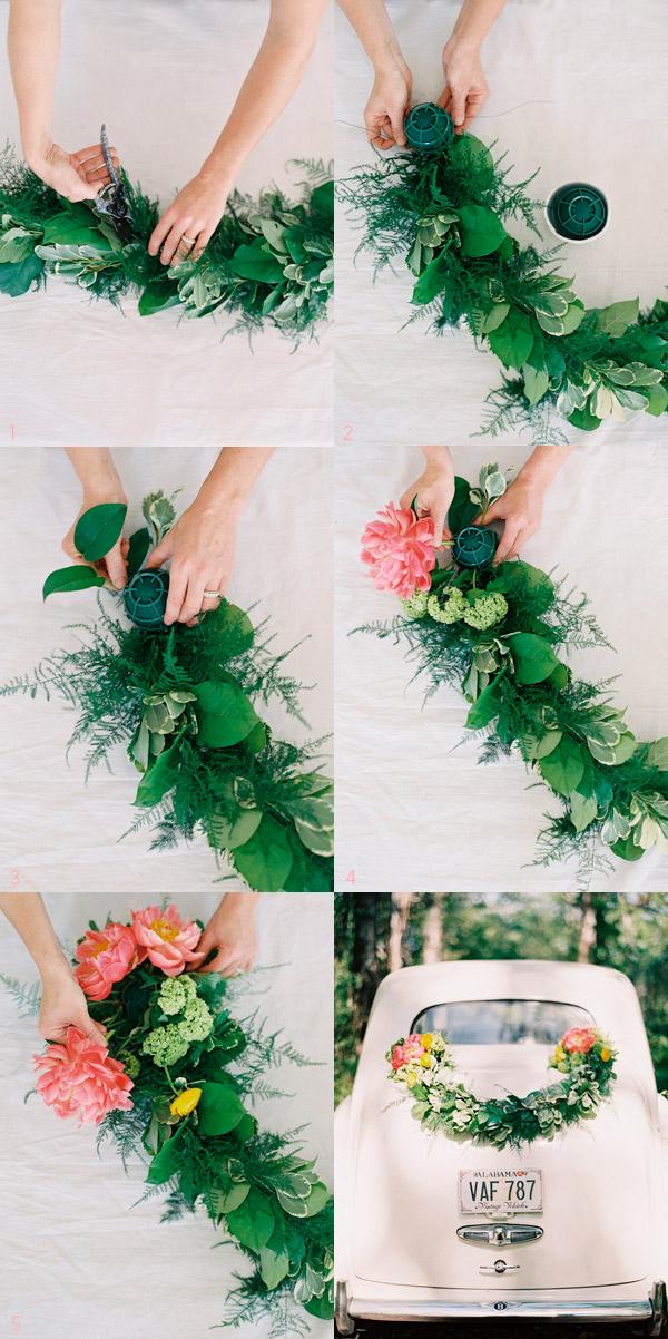 DIY Guirnalda de hojas para decorar el coche de boda