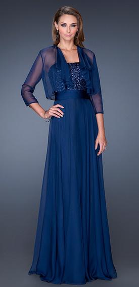 Vestido de noche largo azul
