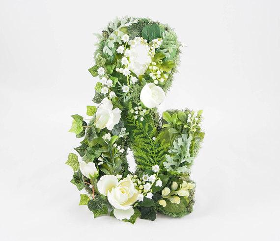 Iniciales de los novios con flores
