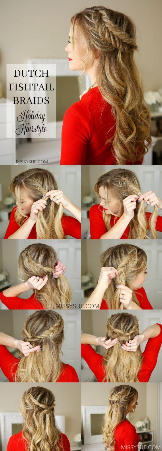 Peinado cabello suelto y diadema cola de pescado
