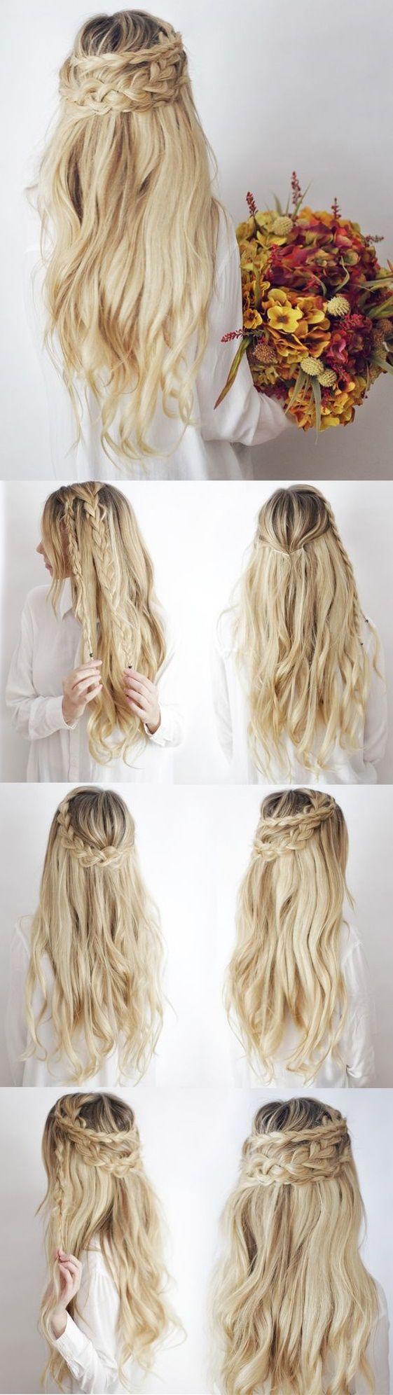Peinado cabello suelto y trenza gruesa media corona