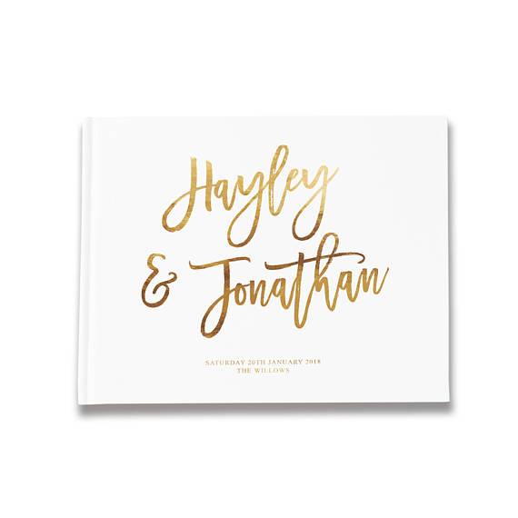 Libro de firmas para boda personalizado con los nombres de los novios