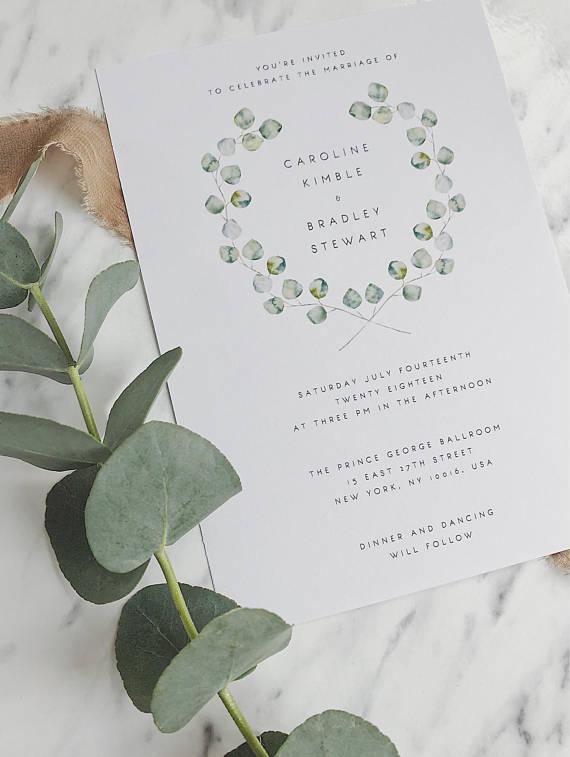 Wedding Invitation Template Green Wreath Eucalyptus