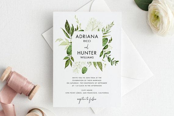 Wedding Invitation Template botanical nature