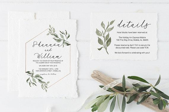 greenery template wedding invitation