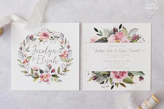 Invitaciones de Boda corona flores estilo boho