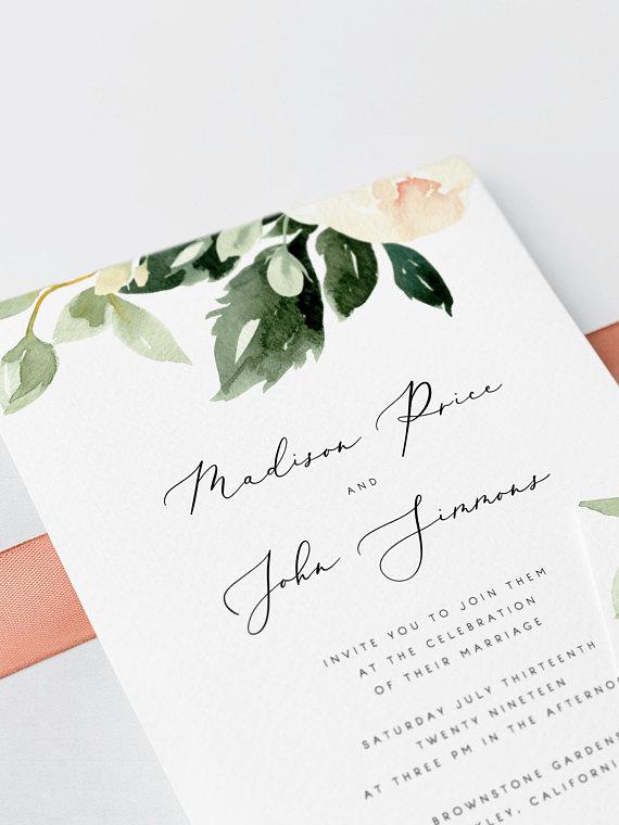 invitacion boda floral blush