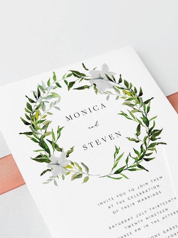 Invitaciones de Boda corona de hojas y flores blancas