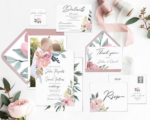 set invitaciones boda flores acuarela