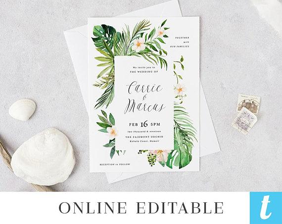 Template para imprimir invitaciones de boda - Diseño hojas tropical
