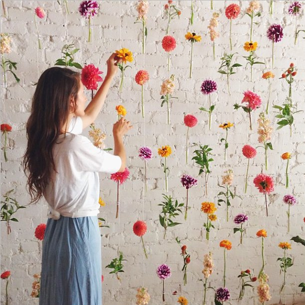 Decoración de pared con flores para fotos